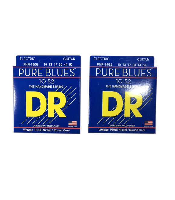 DR Guitar Strings Electric Pure Blues 2 Pack Vintage Pure Nickel 10-52
