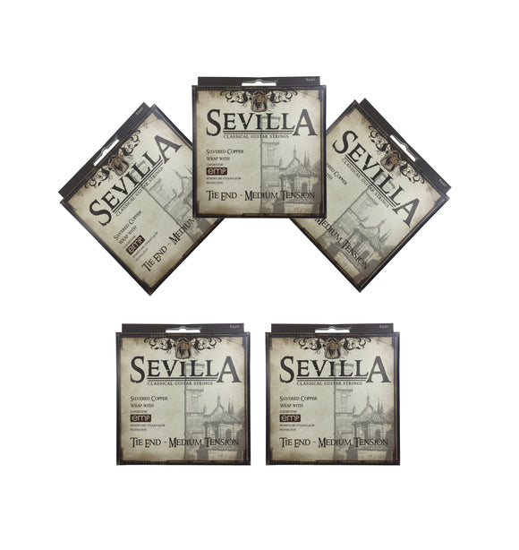Sevilla Guitar Strings Classical 5 Sets Tie End Medium Tension  EMP Coating