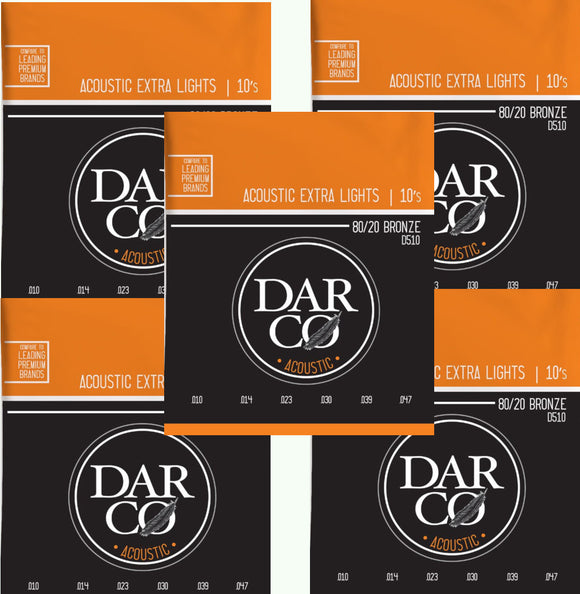 Darco Martin Guitar Strings 5-Pack Acoustic Extra Light 10-54