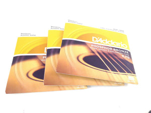 D'Addario Guitar Strings  3 Sets EJ19  Acoustic  Light/Heavy  12-56