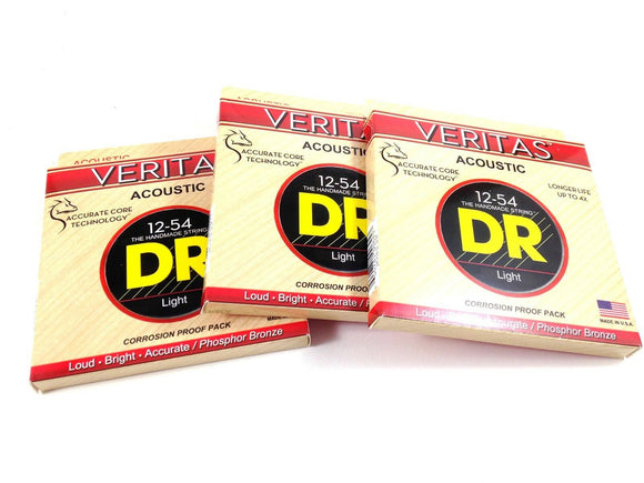 DR Strings Guitar Strings 3 Pack Veritas Acoustic 12-54 Phosphor Bronze