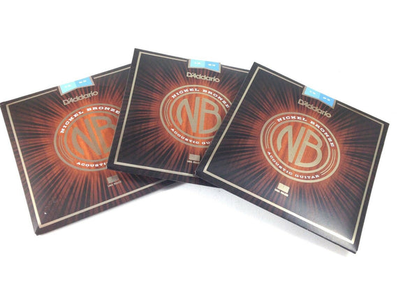 D'Addario Acoustic Guitar Strings 3 Pack Nickel Bronze Light 12-53