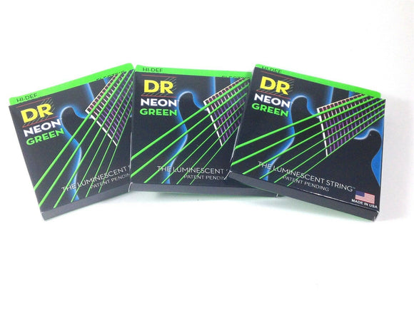 DR Guitar Strings 3 Pack Electric Neon Green 11-50 Heavy
