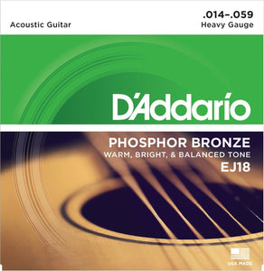 1 Set of NEW D'Addario EJ18 Guitar Strings Heavy.