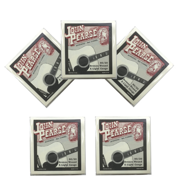 John Pearse Guitar Strings 5 Pack Acoustic 80/20 Bronze Wound Extra Light #100XL