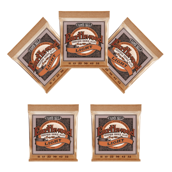 Ernie Ball Guitar Strings 5-Pack Acoustic Earthwood Phosphor Bronze Light 11-52