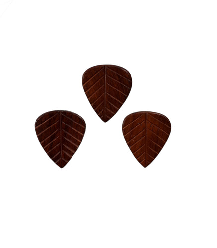 Clayton Guitar Picks  Exotic Leaf Paddock Wooden Picks 3 Pack.