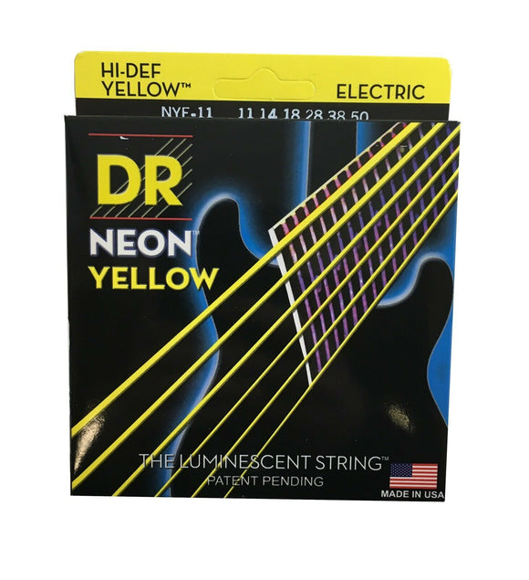 DR Strings Guitar Strings Electric Neon Yellow 11-50 Heavy