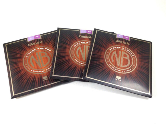 D'Addario Acoustic Guitar Strings 3 Packs Nickel Bronze  11-52