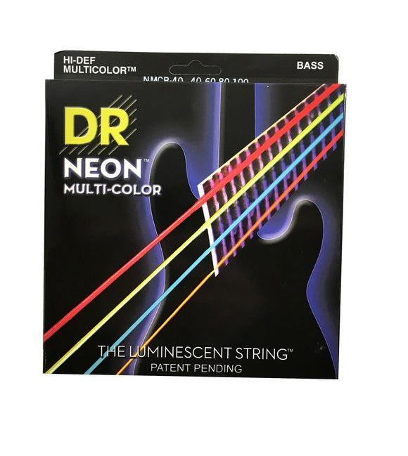 DR Bass Strings Neon Multicolor NMCB-40 40-100 Luminescent.