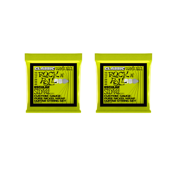 Ernie Ball Guitar Strings 2-Pack Classic Nickel Wrap Regular Slinky Electric 2251 10-46