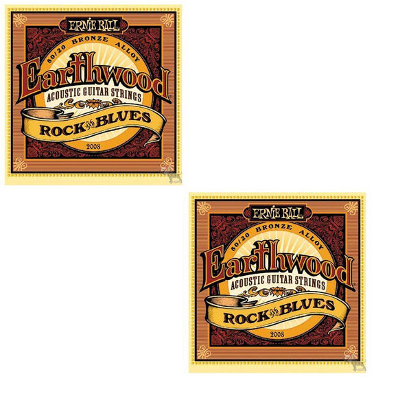 Ernie Ball Guitar Strings 2-Pack Acoustic Earthwood Rock & Blues 10-52 2008