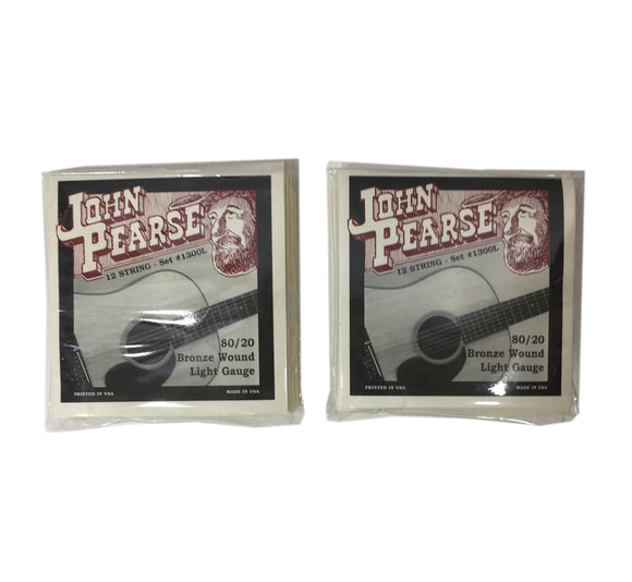 John Pearse Guitar Strings 2 Pack 12 String Set Bronze Wound LIght Gauge 1300L