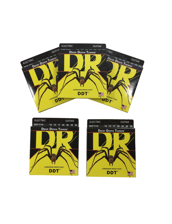 DR Guitar Strings Electric 5-Packs DDT 7-String Drop Down Tuning 10-56
