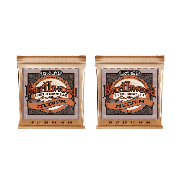 Ernie Ball Guitar Strings 2-Packs Acoustic Earthwood Phosphor Bronze Medium 13-56