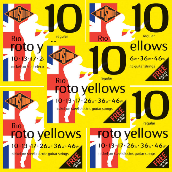 RotoSound Guitar Strings Electric 5-Pack Roto Yellows Nickel Regular 10-46