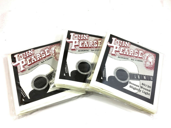 John Pearse 3 Pack Guitar Strings Acoustic 80/20 Bronze Slightly Light #160SL.