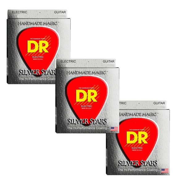 DR Guitar Strings Electric Silver Stars 3-Sets K3 High Performance Coated 11-50