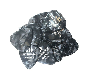Dunlop Guitar Picks  12 Pack  Celluloid  Black Pearl  Extra Heavy.