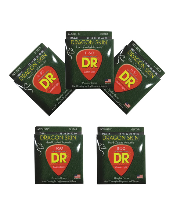 DR Guitar Strings Acoustic 5-Pack Dragon Skin 11-50 Custom Light
