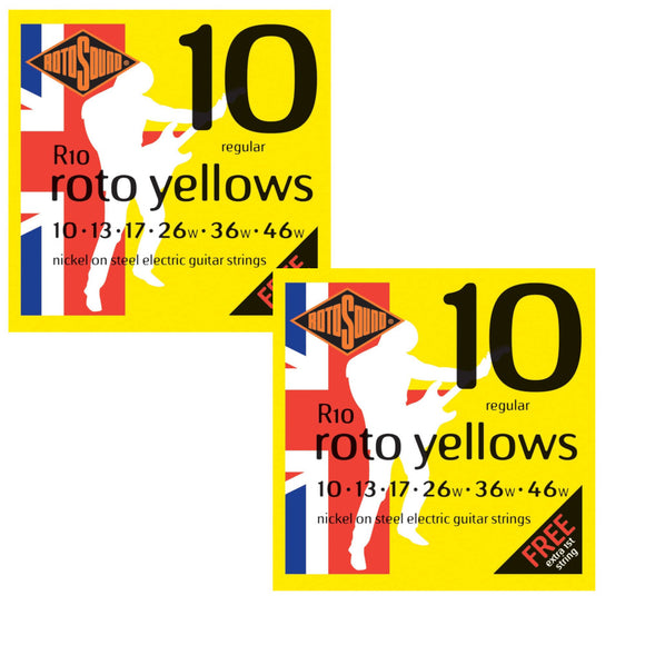RotoSound Guitar Strings Electric 2-Pack Roto Yellows Nickel Regular 10-46