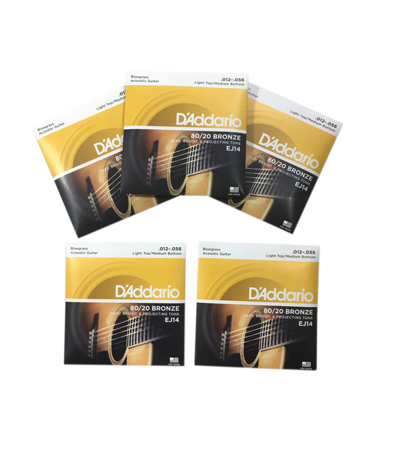 D'Addario Guitar Strings 5-Packs EJ14 Bluegrass 80/20 Bronze 12-56  Acoustic