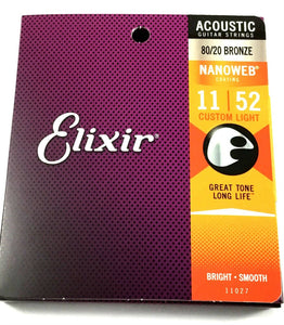 Elixir Guitar Strings  80/20 Bronze Nanoweb Custom Light 11 - 52