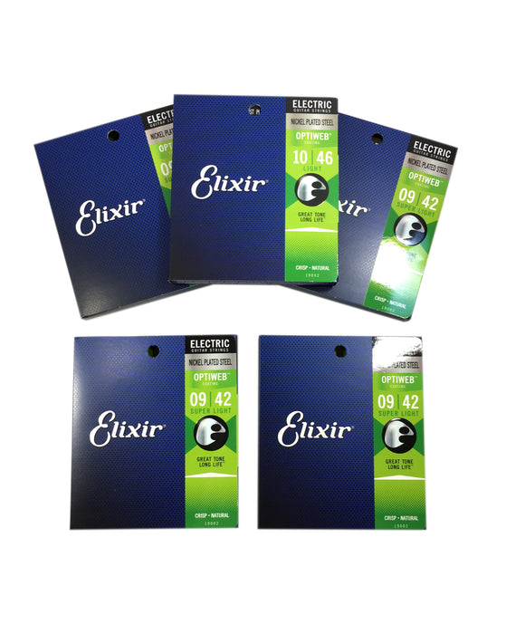 Elixir Guitar Strings 5 Sets Optiweb Electric Super Light 09-42 Long Life