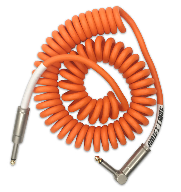 Bullet Cable Instrument Cable Coiled Coily Orange Angled End 15' (~5m).