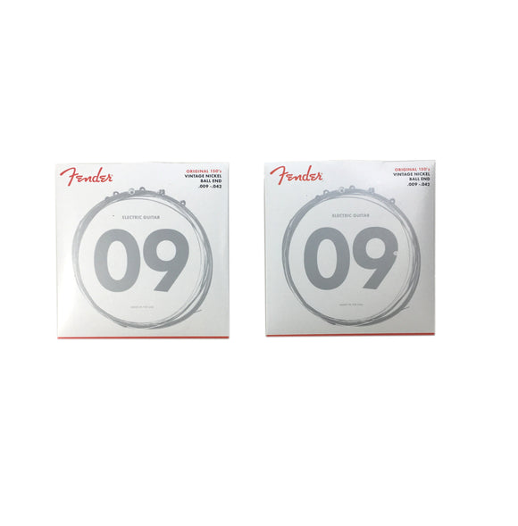 Fender Guitar Strings 2-Pack Electric 150L Pure Nickel Ball End 9-42 Light.