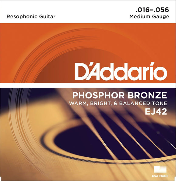 D'Addario Guitar Strings  3 Pack  EJ42  Resophonic  Phosphor Bronze