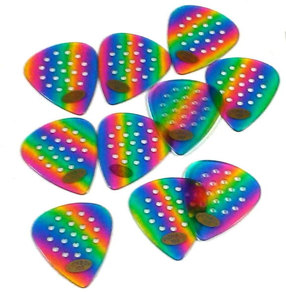 Pickboy Guitar Picks Pro Pos-a-grip 1.00mm Med Heavy 10 Pack Celluloid Rainbow.