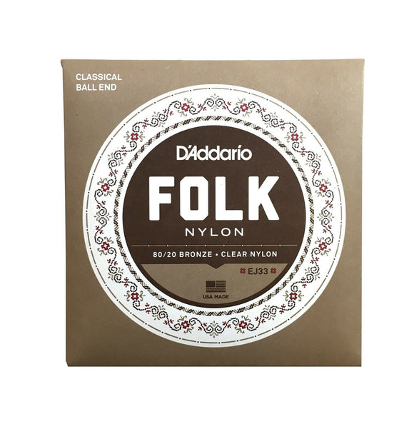 D'Addario Guitar Strings  Folk/Nylon  1 Set  EJ33  Ball End.