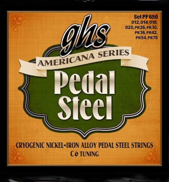 GHS Pedal Steel Strings - Americana Series -C6 Tuning - PF650 Cryogenic Nickel-Iron