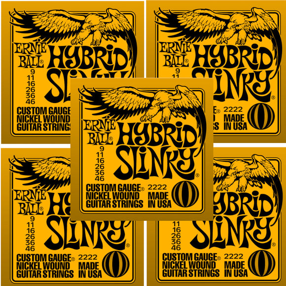 Ernie Ball Guitar Strings 5-Pack Hybrid Slinky Electric 9-46 Nickel Wound.
