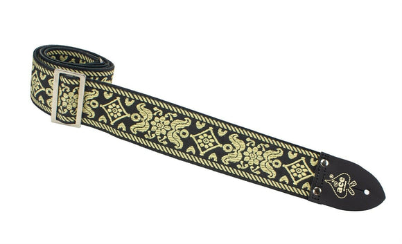 Ace Guitar Strap Vintage Style Jacquard Weave Old Gold.
