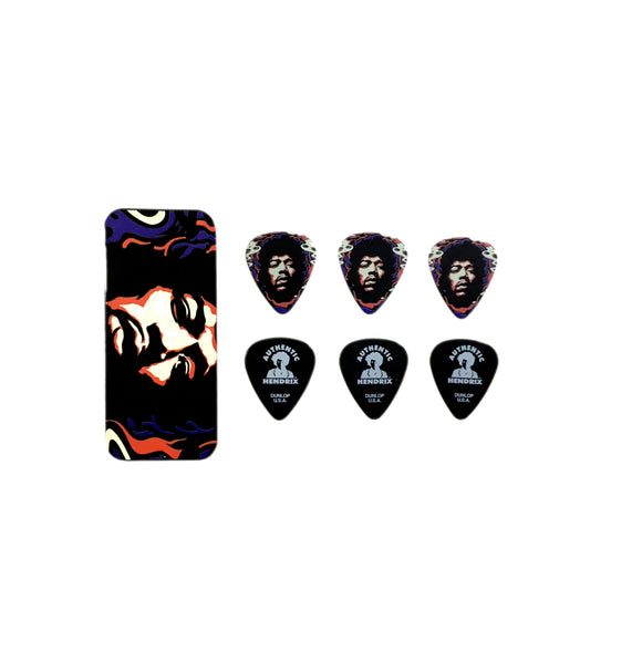 Jimi Hendrix Guitar Picks Star Haze Fire Pick Tin with 6 Picks Heavy.