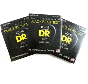 DR Guitar Strings Acoustic 3-Pack K3 Black Beauties Coated 10-48 Extra Light.
