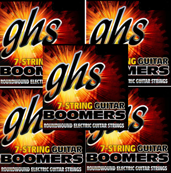 GHS Boomers Guitar Strings 5-Pack  7-String Roundwound Electric Custom Light 9-62