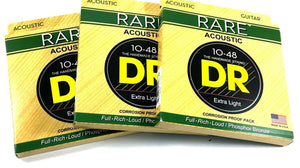 DR Guitar Strings 3 Pack Acoustic RARE Phosphor Bronze Hex Cores RPL-10 10-48