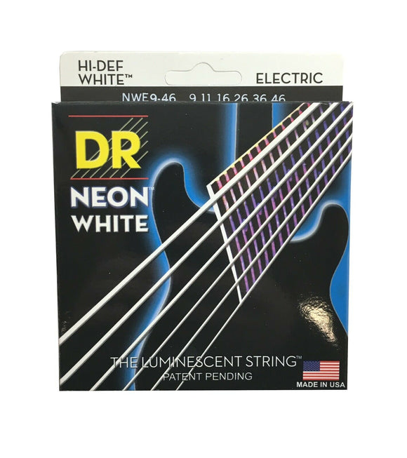 DR Strings Guitar Strings Electric Neon White 09-46 Light and Heavy