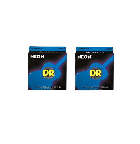 DR Guitar Strings 2-Pack Acoustic Neon Blue 12-54 Luminescent.