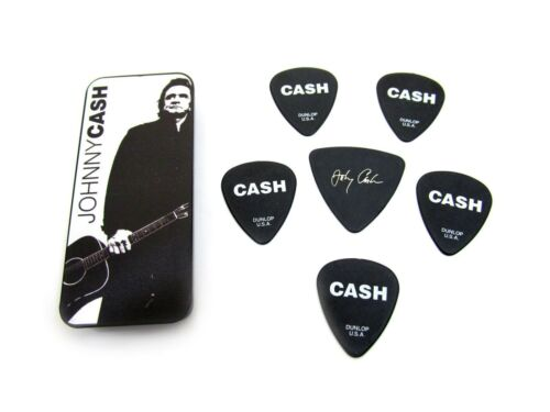 Dunlop Johnny Cash Collectible Guitar Picks in Tin 6 picks Silver Legend Heavy