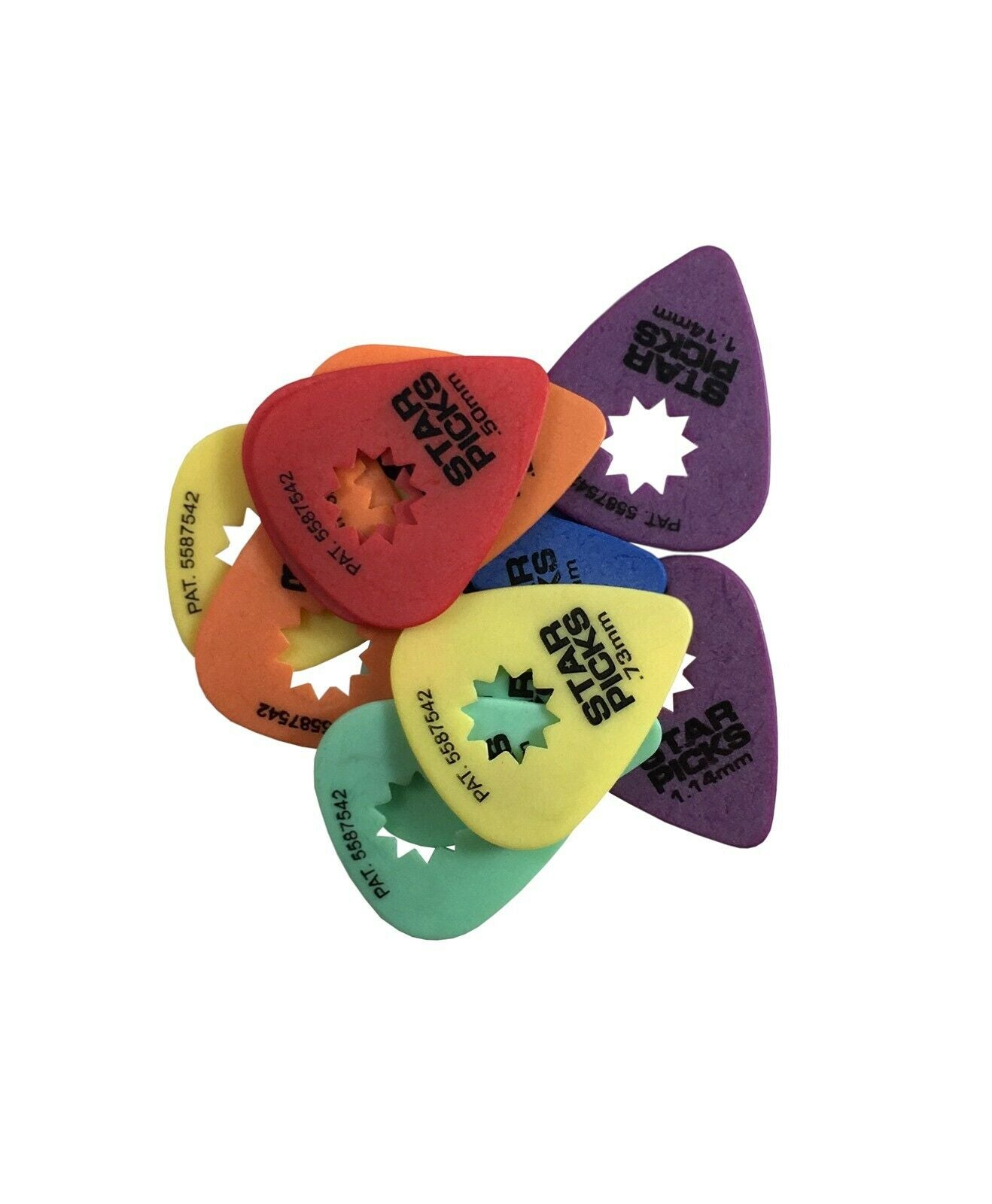 Everly Star Guitar Picks 12 Pack Variety Pack Two of Each Size.