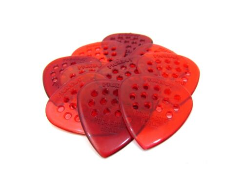 Pickboy Guitar Picks  10 Pack  Pos-a-Grip  Polycarbonite Red  .70mm  Medium