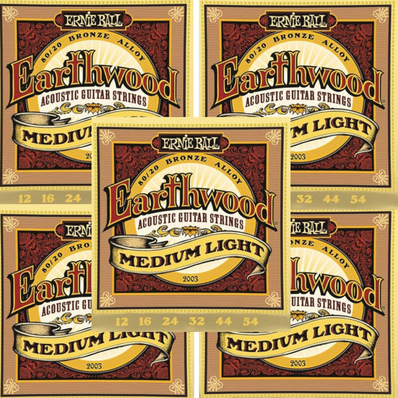 Ernie Ball Guitar Strings 5-Pack Acoustic Earthwood Medium Light 12-54 2003