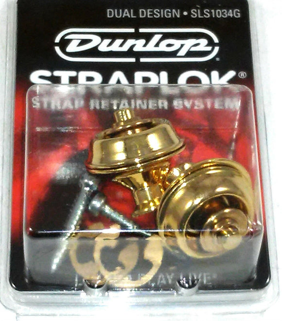 Dunlop Strap Locks - Guitar - Dual Design Strap Retainer System Gold.
