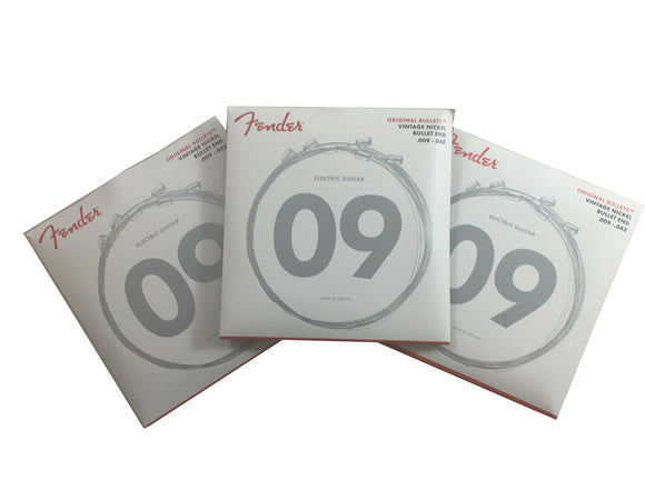 Fender Electric Guitar Strings  3 Pack   Pure Nickel  Bullet End 9-42 Light.
