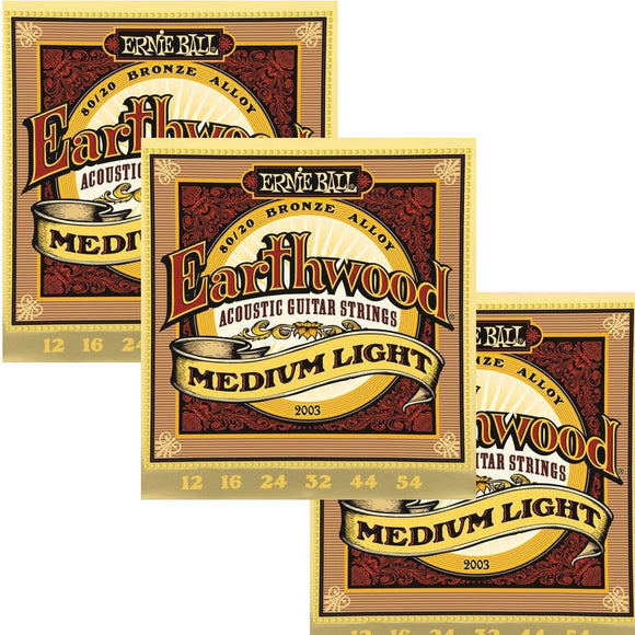 Ernie Ball Guitar Strings 3-Pack Acoustic Earthwood Medium Light 12-54 2003