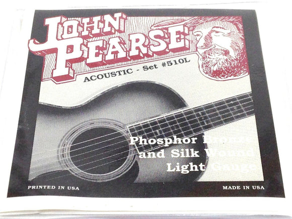 John Pearse Guitar Strings Acoustic Silk Wound Phos Bronze #510L.